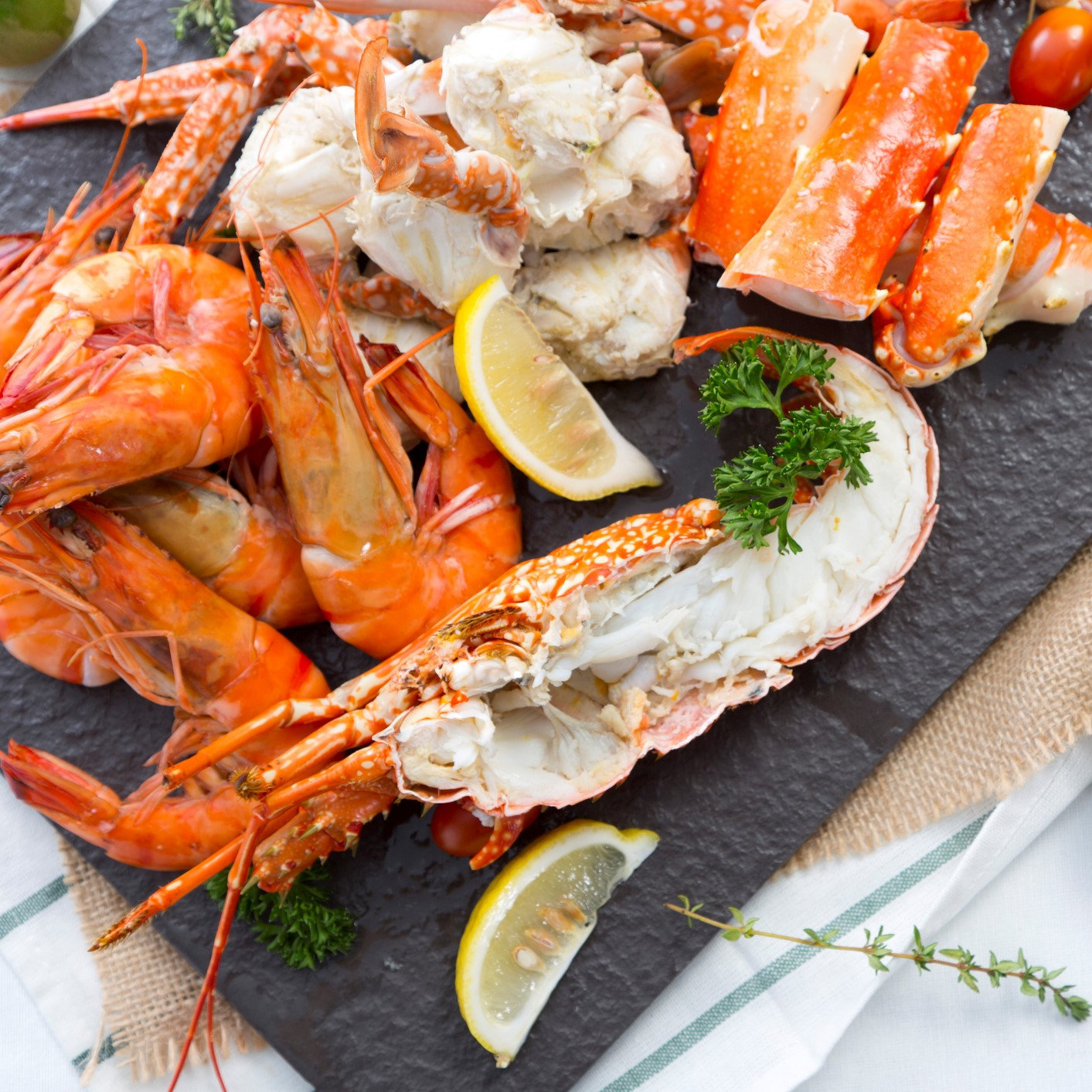 Boiled prawn and lobster on stone plate