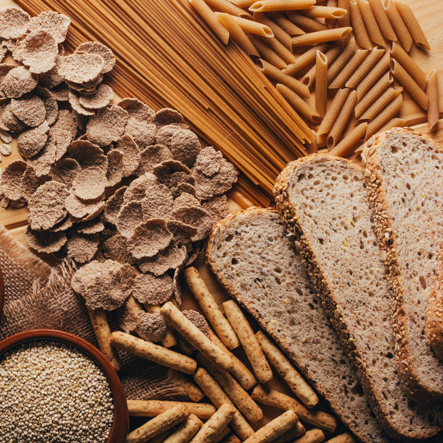 Table full of grains and other wheat sources
